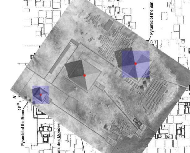 Lauout of the Giza Pyramids superimposed on the layout of Teotihuacan